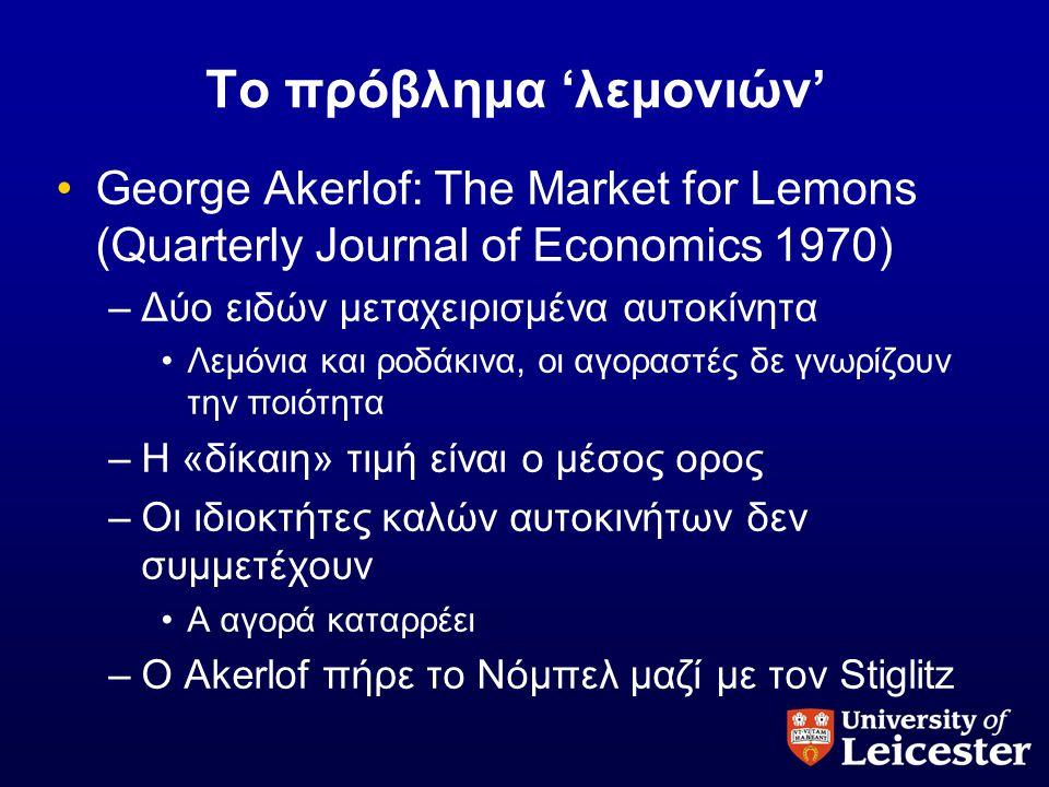 Το πρόβλημα 'λεμονιών' •George Akerlof: The Market for Lemons (Quarterly Journal of Economics 1970) –Δύο ειδών μεταχειρισμένα αυτοκίνητα •Λεμόνια και