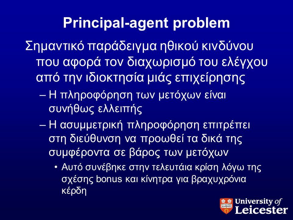 Principal-agent problem Σημαντικό παράδειγμα ηθικού κινδύνου που αφορά τον διαχωρισμό του ελέγχου από την ιδιοκτησία μιάς επιχείρησης –Η πληροφόρηση τ