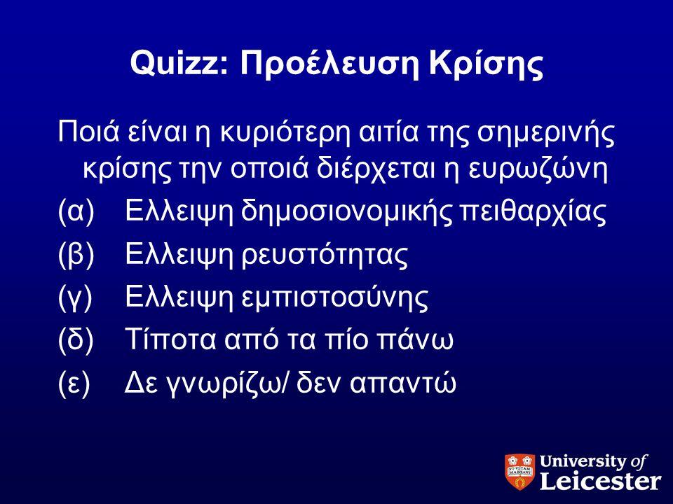 Quizz: Προέλευση Κρίσης Ποιά είναι η κυριότερη αιτία της σημερινής κρίσης την οποιά διέρχεται η ευρωζώνη (α)Ελλειψη δημοσιονομικής πειθαρχίας (β)Ελλει