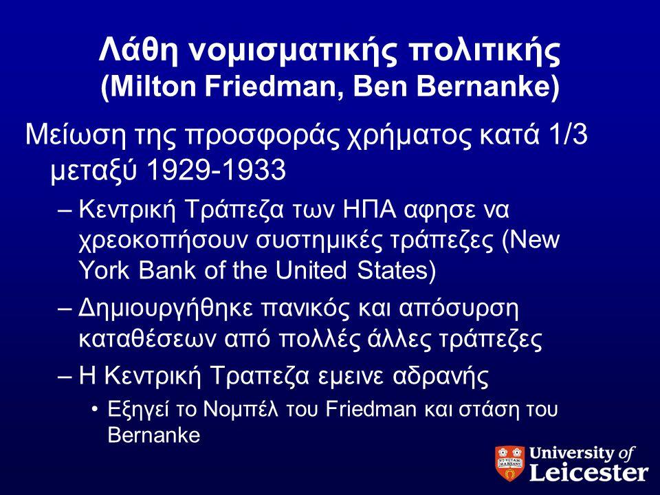 Λάθη νομισματικής πολιτικής (Milton Friedman, Ben Bernanke) Μείωση της προσφοράς χρήματος κατά 1/3 μεταξύ 1929-1933 –Κεντρική Τράπεζα των ΗΠΑ αφησε να