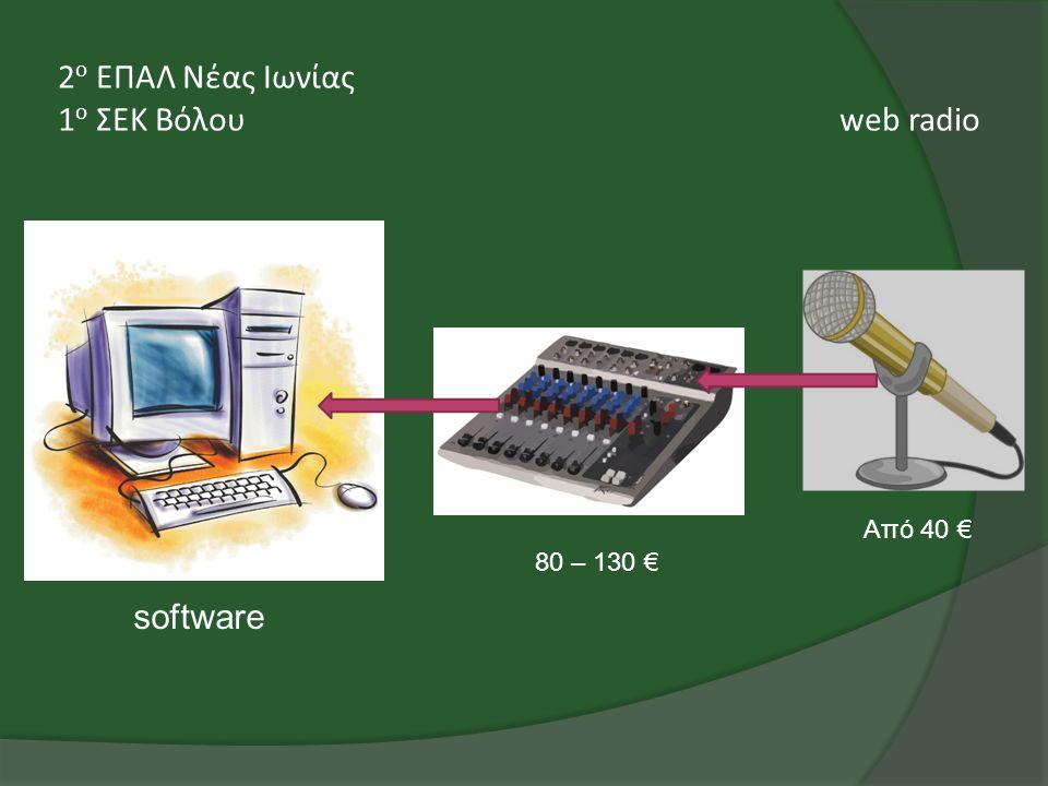 2 ο ΕΠΑΛ Νέας Ιωνίας 1 ο ΣΕΚ Βόλου web radio software 80 – 130 € Από 40 €