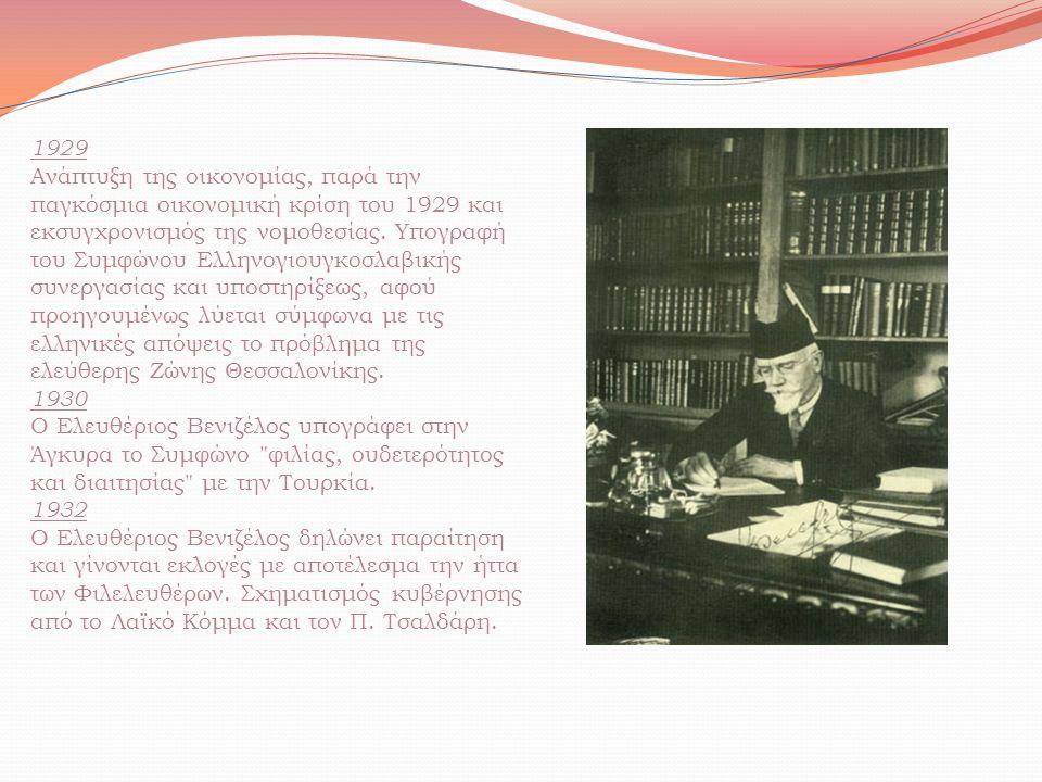 1929 Ανάπτυξη της οικονομίας, παρά την παγκόσμια οικονομική κρίση του 1929 και εκσυγχρονισμός της νομοθεσίας. Υπογραφή του Συμφώνου Ελληνογιουγκοσλαβι