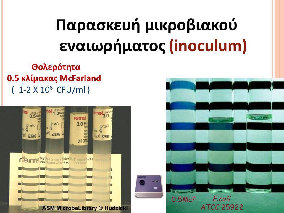 Παρασκευή μικροβιακού εναιωρήματος (inoculum) •4-5 αποικίες, • μεμονωμένες, • παρόμοιας μορφολογίας Άμεσο εναιώρημα αποικίας 24ώρο καλλιέργημα από μη