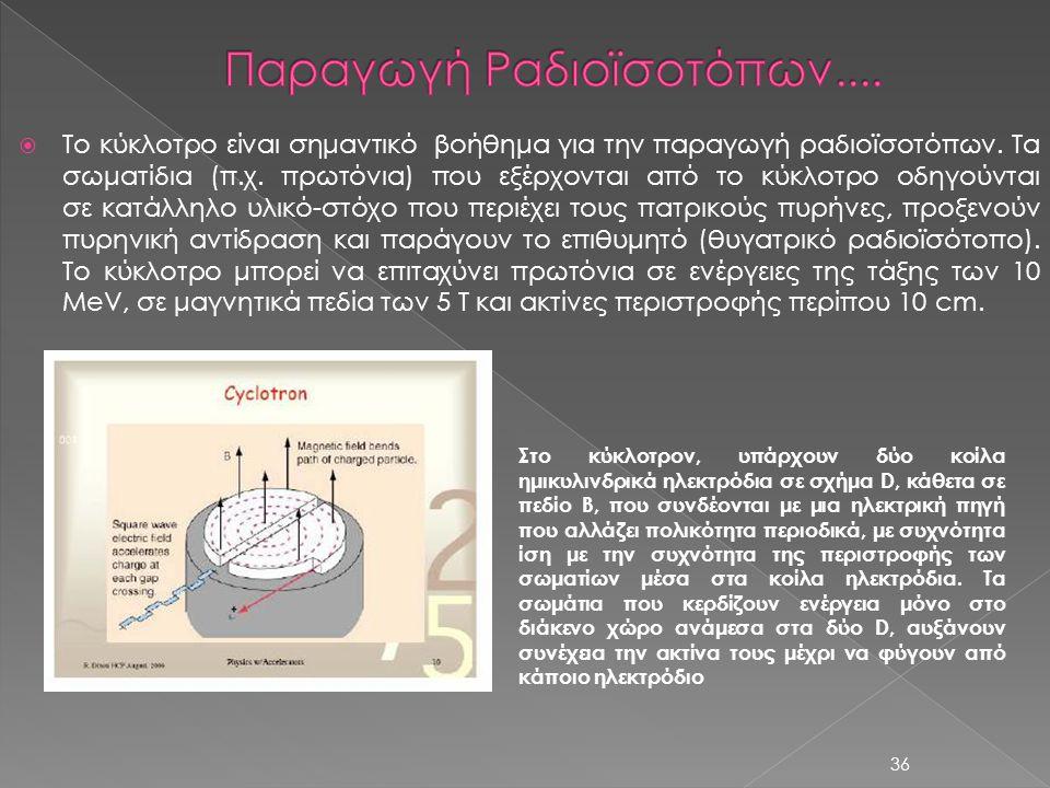  Το κύκλοτρο είναι σημαντικό βοήθημα για την παραγωγή ραδιοϊσοτόπων. Τα σωματίδια (π.χ. πρωτόνια) που εξέρχονται από το κύκλοτρο οδηγούνται σε κατάλλ