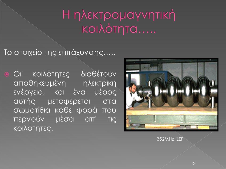 Το στοιχείο της επιτάχυνσης…..  Οι κοιλότητες διαθέτουν αποθηκευμένη ηλεκτρική ενέργεια, και ένα μέρος αυτής μεταφέρεται στα σωματίδια κάθε φορά που