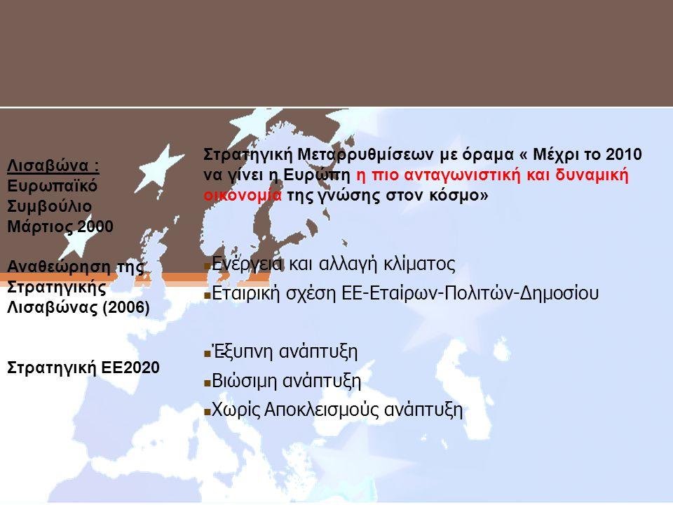 ΠΡΟΤΕΡΑΙΟΤΗΤΕΣ ΕΕ Ι Λισαβώνα : Ευρωπαϊκό Συμβούλιο Μάρτιος 2000 Αναθεώρηση της Στρατηγικής Λισαβώνας (2006) Στρατηγική ΕΕ2020 - Στρατηγική Μεταρρυθμίσεων με όραμα « Μέχρι το 2010 να γίνει η Ευρώπη η πιο ανταγωνιστική και δυναµική οικονοµία της γνώσης στον κόσµο»  Ενέργεια και αλλαγή κλίματος  Εταιρική σχέση ΕΕ-Εταίρων-Πολιτών-Δημοσίου  Έξυπνη ανάπτυξη  Βιώσιμη ανάπτυξη  Χωρίς Αποκλεισμούς ανάπτυξη