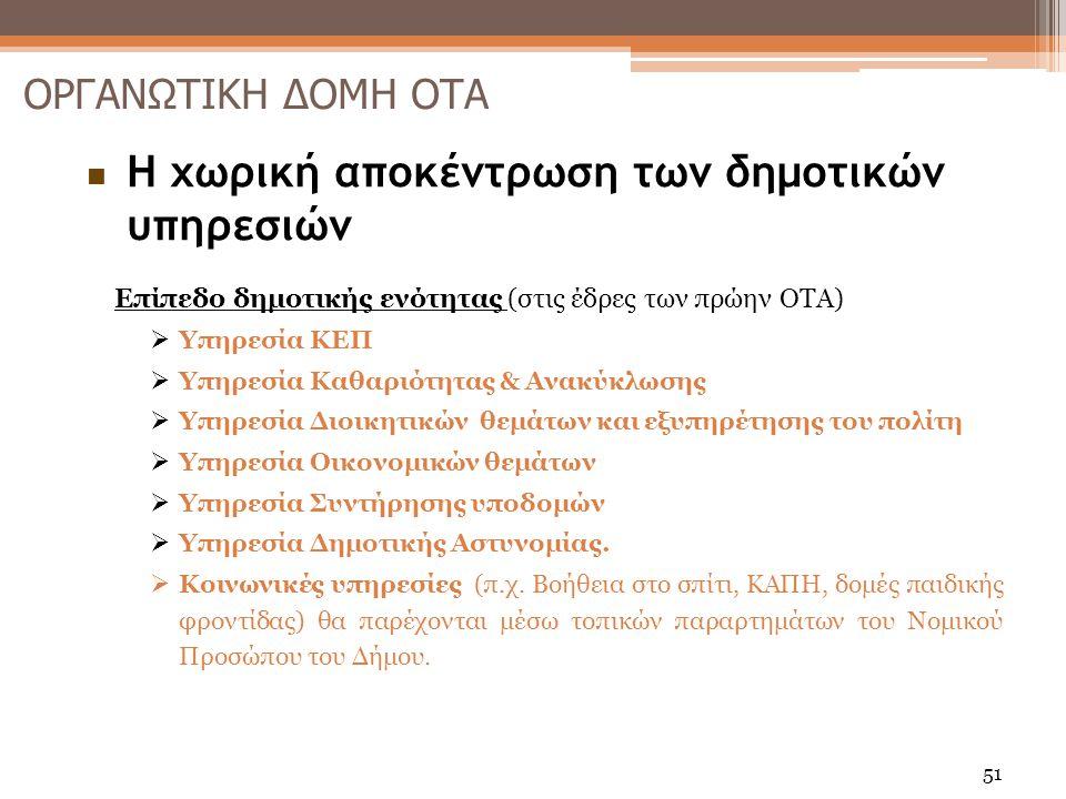  Η χωρική αποκέντρωση των δημοτικών υπηρεσιών Επίπεδο δημοτικής ενότητας (στις έδρες των πρώην ΟΤΑ)  Υπηρεσία ΚΕΠ  Υπηρεσία Καθαριότητας & Ανακύκλωσης  Υπηρεσία Διοικητικών θεμάτων και εξυπηρέτησης του πολίτη  Υπηρεσία Οικονομικών θεμάτων  Υπηρεσία Συντήρησης υποδομών  Υπηρεσία Δημοτικής Αστυνομίας.