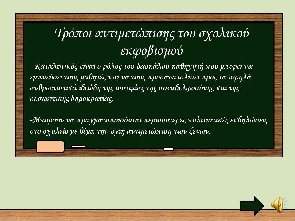 Μορφές ενδοσχολικής Βιας Στην πραγματικότητα, το φαινόμενο του σχολικού εκφοβισμού δύσκολα μπορεί να οριστεί αφού εκδηλώνεται με διάφορες μορφές. Οι ε