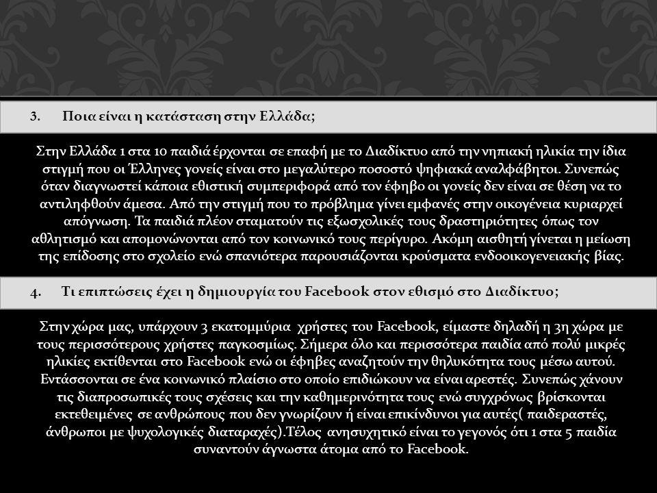 3. Ποια είναι η κατάσταση στην Ελλάδα ; Στην Ελλάδα 1 στα 10 παιδιά έρχονται σε επαφή με το Διαδίκτυο από την νηπιακή ηλικία την ίδια στιγμή που οι Έλ