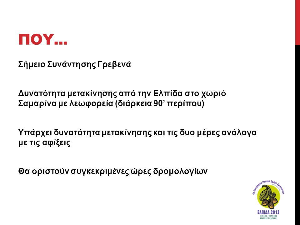 ΠΟΥ... Σήμειο Συνάντησης Γρεβενά Δυνατότητα μετακίνησης από την Ελπίδα στο χωριό Σαμαρίνα με λεωφορεία (διάρκεια 90' περίπου) Υπάρχει δυνατότητα μετακ