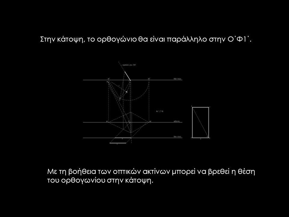 Με τη βοήθεια των οπτικών ακτίνων μπορεί να βρεθεί η θέση του ορθογωνίου στην κάτοψη.