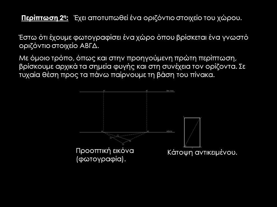 Προοπτική εικόνα (φωτογραφία). Κάτοψη αντικειμένου. Περίπτωση 2 η : Έχει αποτυπωθεί ένα οριζόντιο στοιχείο του χώρου. Έστω ότι έχουμε φωτογραφίσει ένα