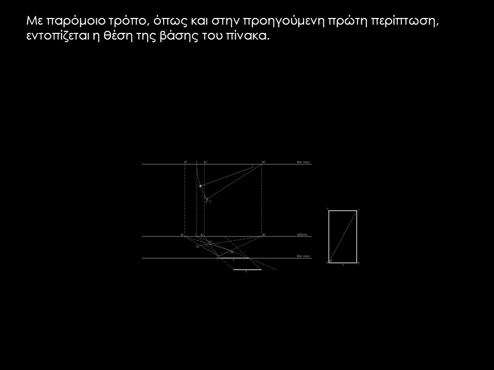Με παρόμοιο τρόπο, όπως και στην προηγούμενη πρώτη περίπτωση, εντοπίζεται η θέση της βάσης του πίνακα.