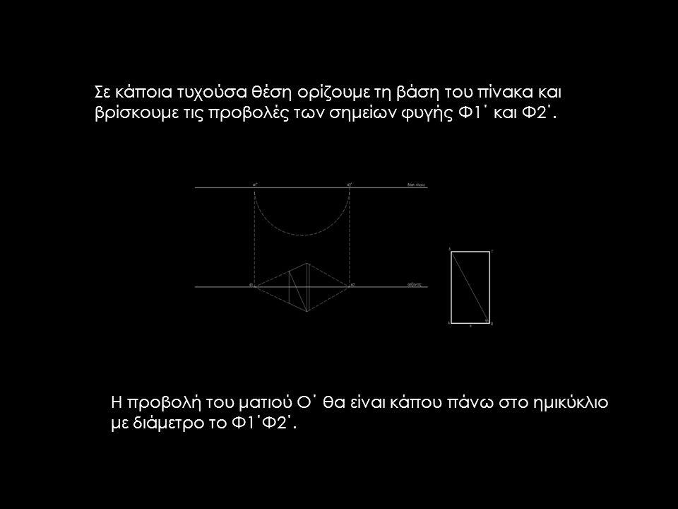 Η προβολή του ματιού Ο΄ θα είναι κάπου πάνω στο ημικύκλιο με διάμετρο το Φ1΄Φ2΄. Σε κάποια τυχούσα θέση ορίζουμε τη βάση του πίνακα και βρίσκουμε τις
