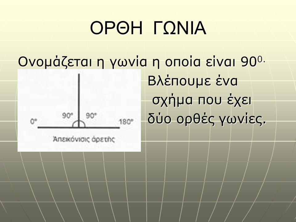 ΟΡΘΗ ΓΩΝΙΑ Ονομάζεται η γωνία η οποία είναι 900. Βλέπουμε ένα σχήμα που έχει δύο ορθές γωνίες.