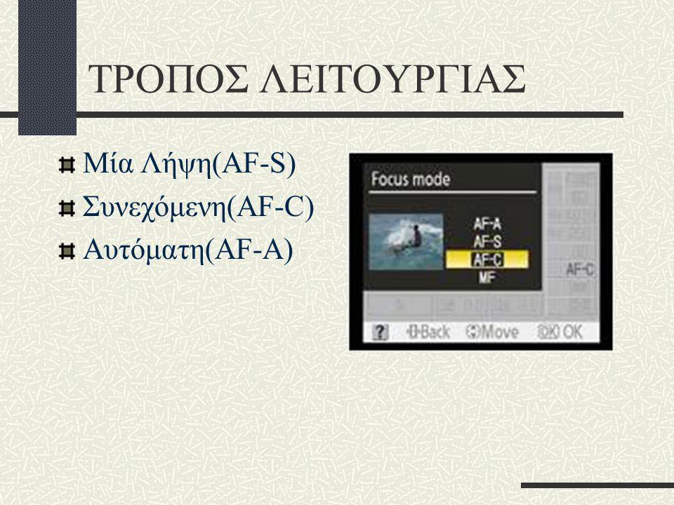 ΤΡΟΠΟΣ ΛΕΙΤΟΥΡΓΙΑΣ Μία Λήψη(ΑF-S) Συνεχόμενη(AF-C) Αυτόματη(AF-A)