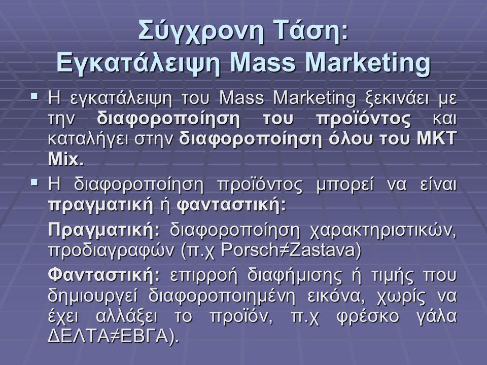 Σύγχρονη Τάση: Εγκατάλειψη Mass Marketing  Η εγκατάλειψη του Mass Marketing ξεκινάει με την διαφοροποίηση του προϊόντος και καταλήγει στην διαφοροποί