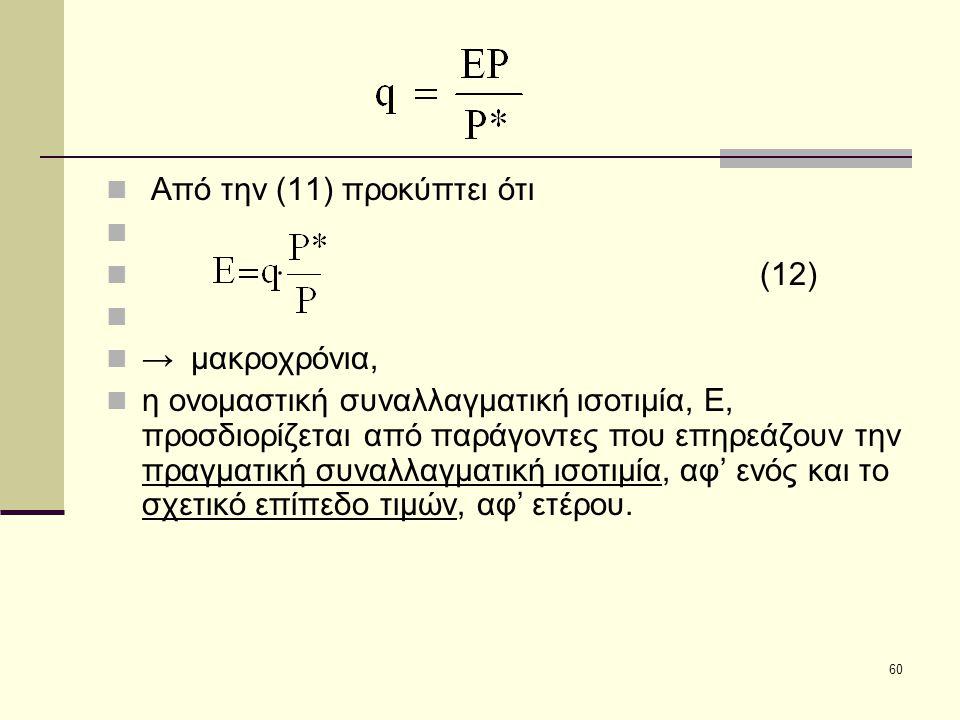 60  Από την (11) προκύπτει ότι   (12)   → μακροχρόνια,  η ονομαστική συναλλαγματική ισοτιμία, Ε, προσδιορίζεται από παράγοντες που επηρεάζουν τη