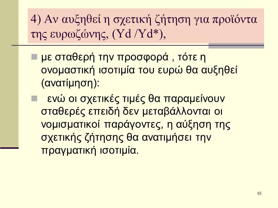 65 4) Αν αυξηθεί η σχετική ζήτηση για προϊόντα της ευρωζώνης, (Υd /Υd*),  με σταθερή την προσφορά, τότε η ονομαστική ισοτιμία του ευρώ θα αυξηθεί (αν