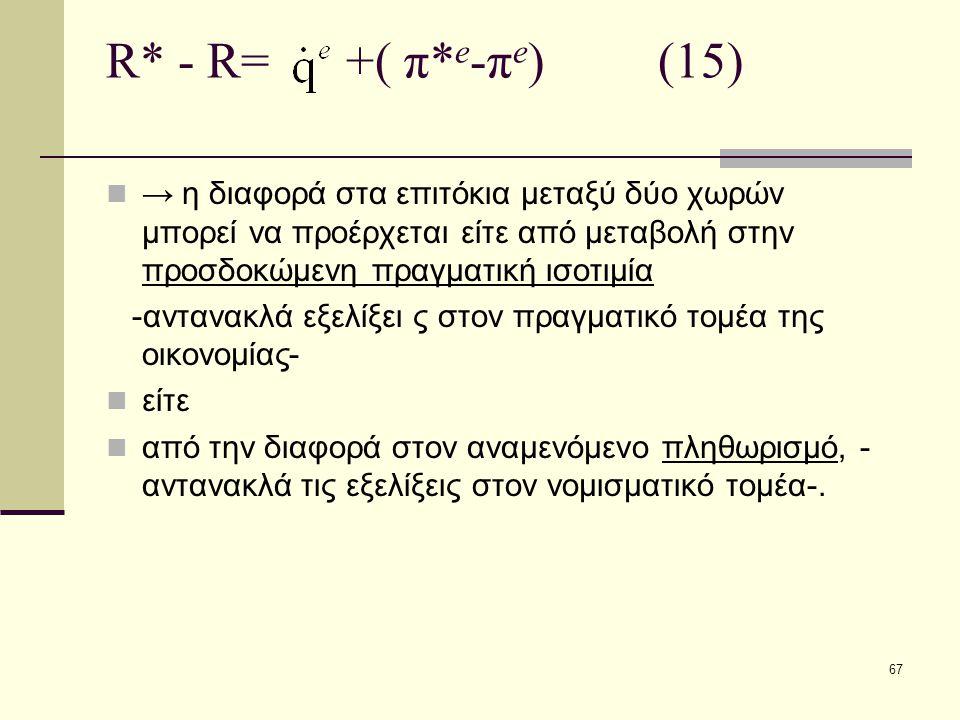 67 R* - R= +( π* e -π e ) (15)  → η διαφορά στα επιτόκια μεταξύ δύο χωρών μπορεί να προέρχεται είτε από μεταβολή στην προσδοκώμενη πραγματική ισοτιμί