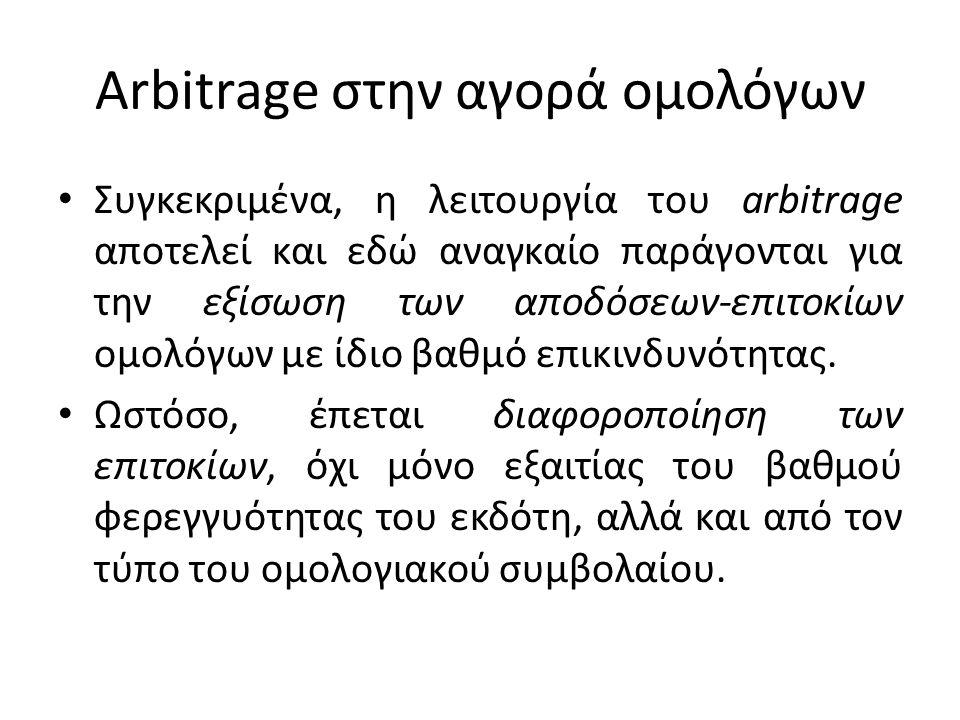 Arbitrage στην αγορά ομολόγων • Συγκεκριμένα, η λειτουργία του arbitrage αποτελεί και εδώ αναγκαίο παράγονται για την εξίσωση των αποδόσεων-επιτοκίων