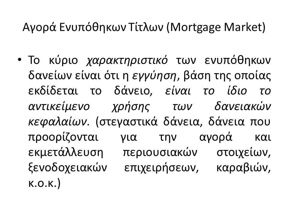 Αγορά Ενυπόθηκων Τίτλων (Mortgage Market) • Το κύριο χαρακτηριστικό των ενυπόθηκων δανείων είναι ότι η εγγύηση, βάση της οποίας εκδίδεται το δάνειο, ε