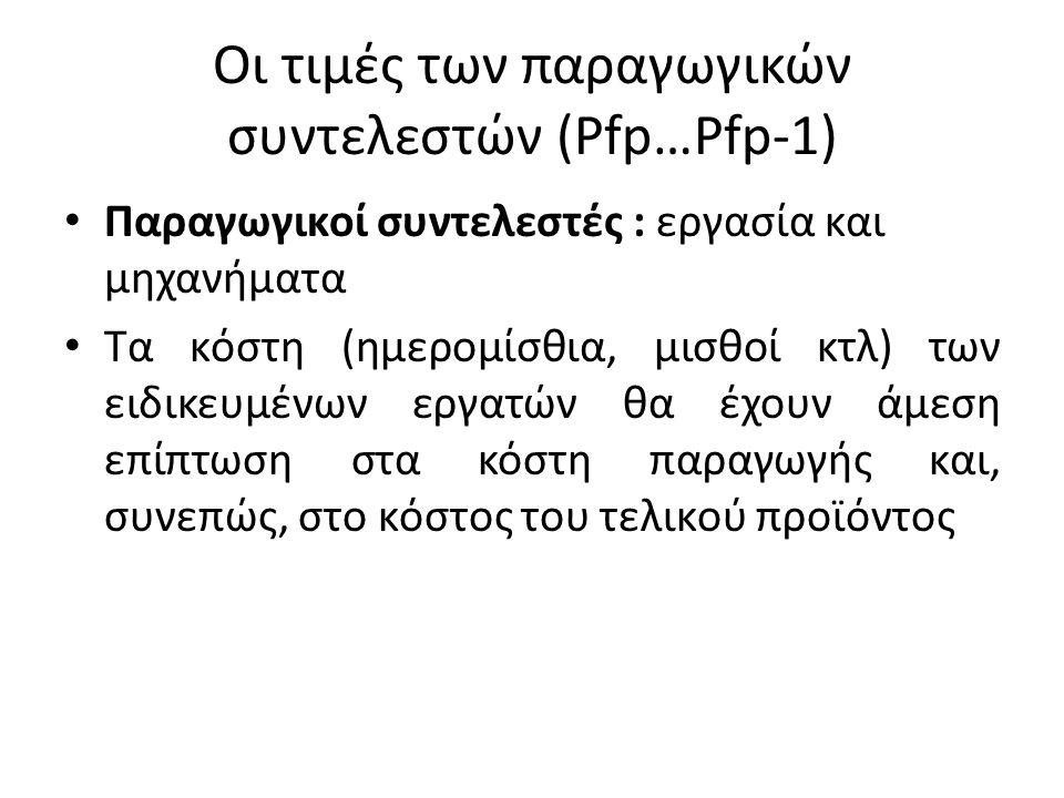 Οι τιμές των παραγωγικών συντελεστών (Pfp…Pfp-1) • Παραγωγικοί συντελεστές : εργασία και μηχανήματα • Τα κόστη (ημερομίσθια, μισθοί κτλ) των ειδικευμέ