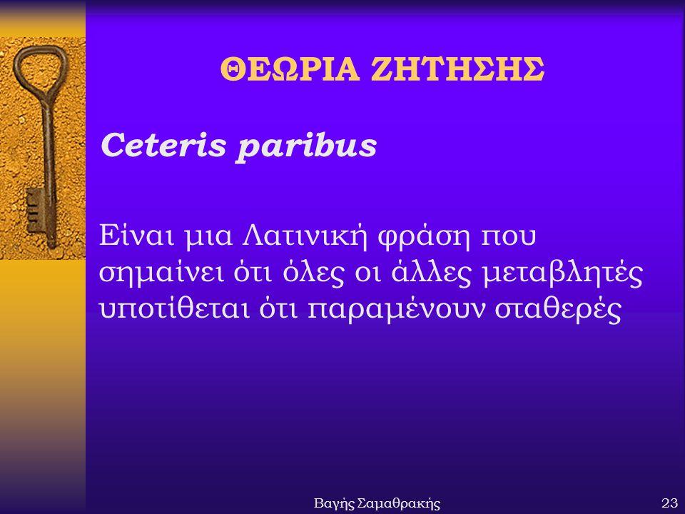 Βαγής Σαμαθρακής23 ΘΕΩΡΙΑ ΖΗΤΗΣΗΣ Ceteris paribus Είναι μια Λατινική φράση που σημαίνει ότι όλες οι άλλες μεταβλητές υποτίθεται ότι παραμένουν σταθερές