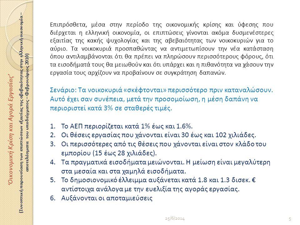 25/6/20145 Επιπρόσθετα, μέσα στην περίοδο της οικονομικής κρίσης και ύφεσης που διέρχεται η ελληνική οικονομία, οι επιπτώσεις γίνονται ακόμα δυσμενέστερες εξαιτίας της κακής ψυχολογίας και της αβεβαιότητας των νοικοκυριών για το αύριο.