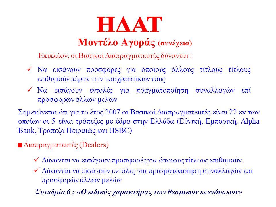 Έντοκα Γραμμάτια του Ελληνικού Δημοσίου (TBL) Ομόλογα σταθερού επιτοκίου (FXD) Ομόλογα κυμαινομένου επιτοκίου (FRN) Ομόλογα μηδενικού τοκομεριδίου (Zero Coupon) Αποσυνδεδεμένα τοκομερίδια (STP) Τίτλοι συνδεδεμένοι με τον πληθωρισμό (ILB) Είδη Τίτλων προς Διαπραγμάτευση Συνεδρία 6 : «Ο ειδικός χαρακτήρας των θεσμικών επενδύσεων» Οι τίτλοι που διαπραγματεύονται στην ΗΔΑΤ είναι μόνο τίτλοι του Ελληνικού Δημοσίου που διακανονίζονται στο σύστημα ΑΫΛΩΝ ΤΙΤΛΩΝ της Τ.Ε.