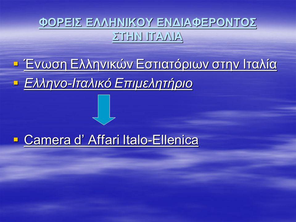 ΦΟΡΕΙΣ ΕΛΛΗΝΙΚΟΥ ΕΝΔΙΑΦΕΡΟΝΤΟΣ ΣΤΗΝ ΙΤΑΛΙΑ  Ένωση Ελληνικών Εστιατόριων στην Ιταλία  Ελληνο-Ιταλικό Επιμελητήριο  Camera d' Affari Italo-Ellenica