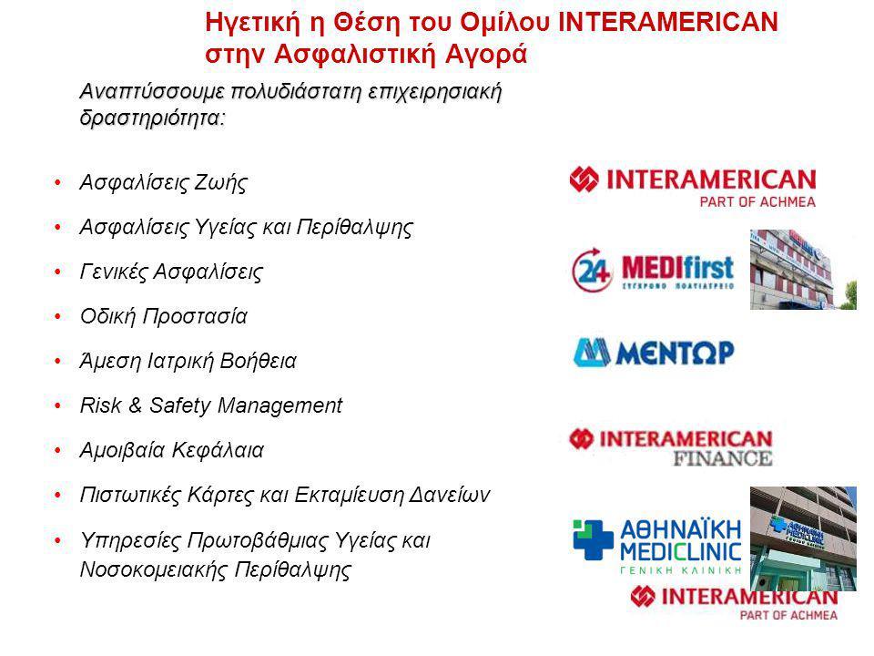 Ηγετική η Θέση του Ομίλου INTERAMERICAN στην Ασφαλιστική Αγορά Αναπτύσσουμε πολυδιάστατη επιχειρησιακή δραστηριότητα: •Ασφαλίσεις Ζωής •Ασφαλίσεις Υγείας και Περίθαλψης •Γενικές Ασφαλίσεις •Οδική Προστασία •Άμεση Ιατρική Βοήθεια •Risk & Safety Management •Αμοιβαία Κεφάλαια •Πιστωτικές Κάρτες και Εκταμίευση Δανείων •Υπηρεσίες Πρωτοβάθμιας Υγείας και Νοσοκομειακής Περίθαλψης