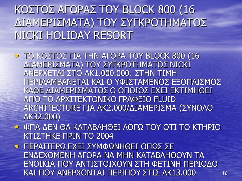 16 ΚΟΣΤΟΣ ΑΓΟΡΑΣ ΤΟΥ BLOCK 800 (16 ΔΙΑΜΕΡΙΣΜΑΤΑ) ΤΟΥ ΣΥΓΚΡΟΤΗΜΑΤΟΣ NICKI HOLIDAY RESORT • ΤΟ ΚΟΣΤΟΣ ΓΙΑ ΤΗΝ ΑΓΟΡΑ ΤΟΥ BLOCK 800 (16 ΔΙΑΜΕΡΙΣΜΑΤΑ) ΤΟΥ