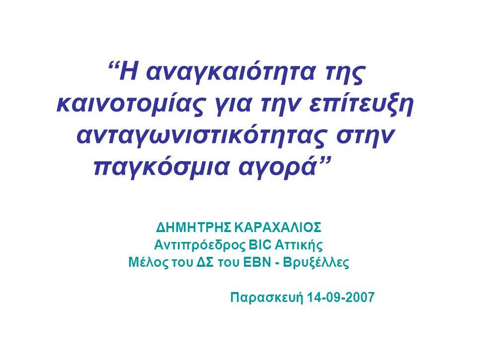 """""""Η αναγκαιότητα της καινοτομίας για την επίτευξη ανταγωνιστικότητας στην παγκόσμια αγορά"""" ΔΗΜΗΤΡΗΣ ΚΑΡΑΧΑΛΙΟΣ Αντιπρόεδρος BIC Aττικής Μέλος του ΔΣ το"""