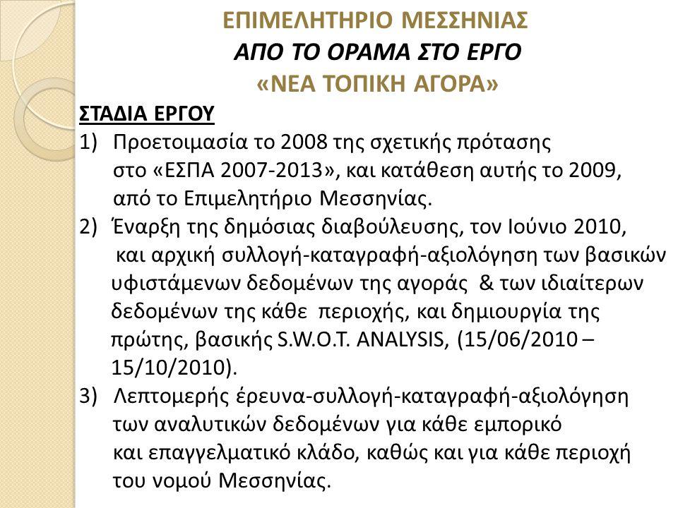 ΕΠΙΜΕΛΗΤΗΡΙΟ ΜΕΣΣΗΝΙΑΣ ΑΠΟ ΤΟ ΟΡΑΜΑ ΣΤΟ ΕΡΓΟ «ΝΕΑ ΤΟΠΙΚΗ ΑΓΟΡΑ» ΣΤΑΔΙΑ ΕΡΓΟΥ 1)Προετοιμασία το 2008 της σχετικής πρότασης στο «ΕΣΠΑ 2007-2013», και κατάθεση αυτής το 2009, από το Επιμελητήριο Μεσσηνίας.