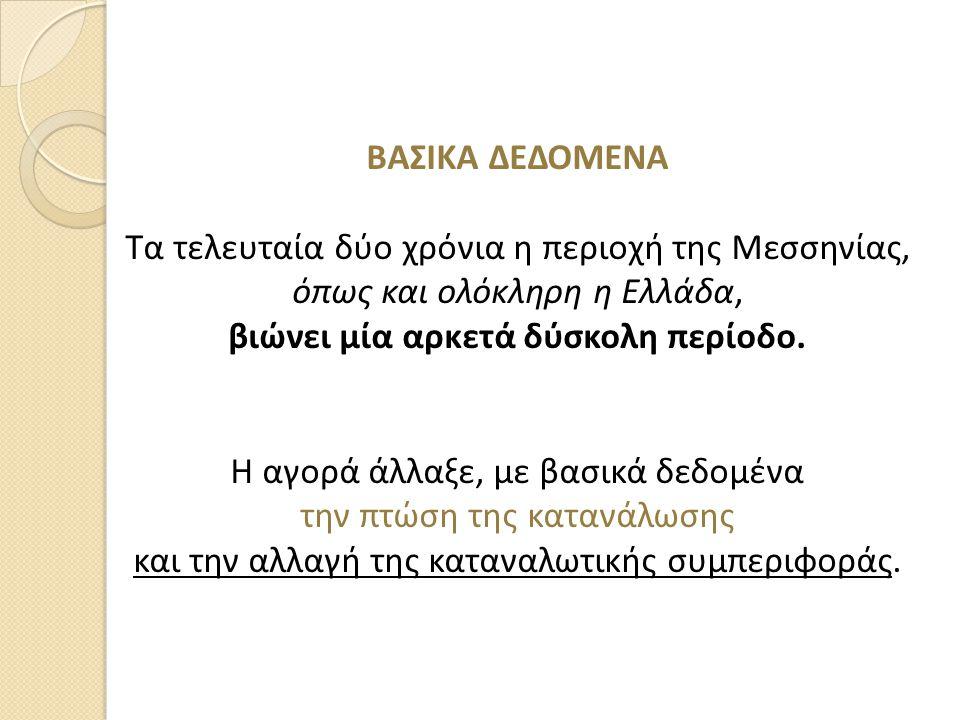 ΒΑΣΙΚΑ ΔΕΔΟΜΕΝΑ Τα τελευταία δύο χρόνια η περιοχή της Μεσσηνίας, όπως και ολόκληρη η Ελλάδα, βιώνει μία αρκετά δύσκολη περίοδο. Η αγορά άλλαξε, με βασ