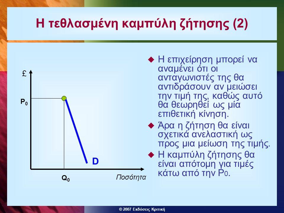 © 2007 Εκδόσεις Κριτική Η τεθλασμένη καμπύλη ζήτησης (2)  Η επιχείρηση μπορεί να αναμένει ότι οι ανταγωνιστές της θα αντιδράσουν αν μειώσει την τιμή