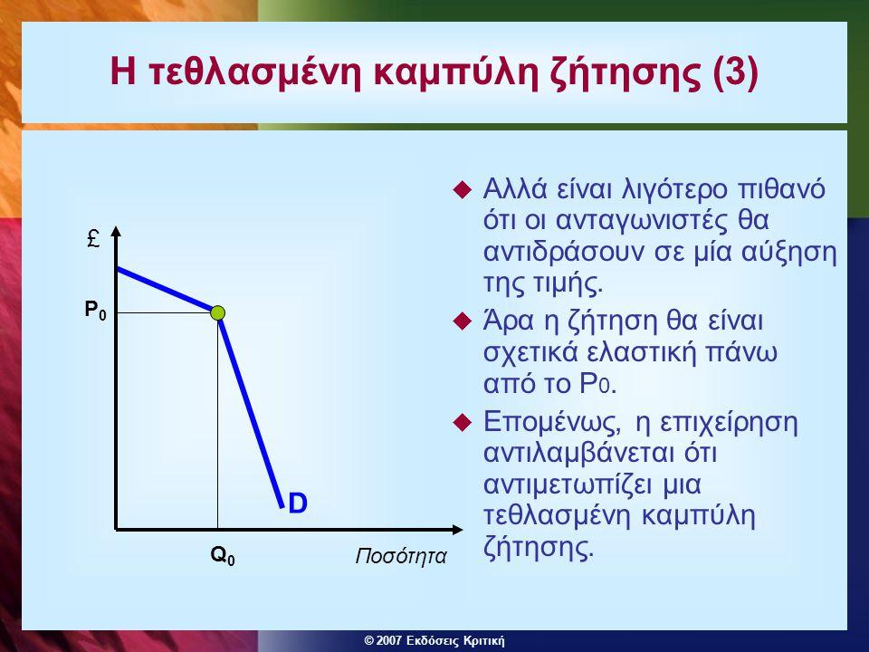 © 2007 Εκδόσεις Κριτική Η τεθλασμένη καμπύλη ζήτησης (3)  Αλλά είναι λιγότερο πιθανό ότι οι ανταγωνιστές θα αντιδράσουν σε μία αύξηση της τιμής.  Άρ