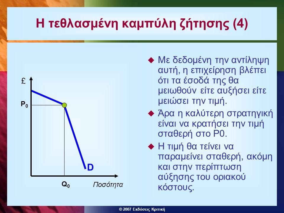 © 2007 Εκδόσεις Κριτική Η τεθλασμένη καμπύλη ζήτησης (4)  Με δεδομένη την αντίληψη αυτή, η επιχείρηση βλέπει ότι τα έσοδά της θα μειωθούν είτε αυξήσε