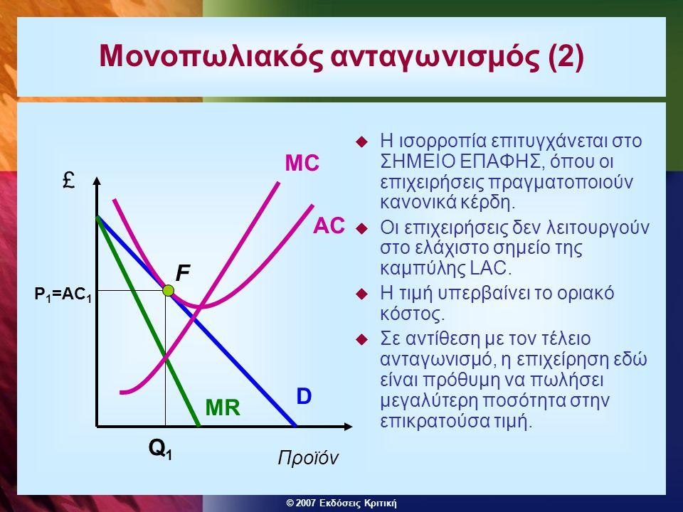 © 2007 Εκδόσεις Κριτική Μονοπωλιακός ανταγωνισμός (2)  Η ισορροπία επιτυγχάνεται στο ΣΗΜΕΙΟ ΕΠΑΦΗΣ, όπου οι επιχειρήσεις πραγματοποιούν κανονικά κέρδ