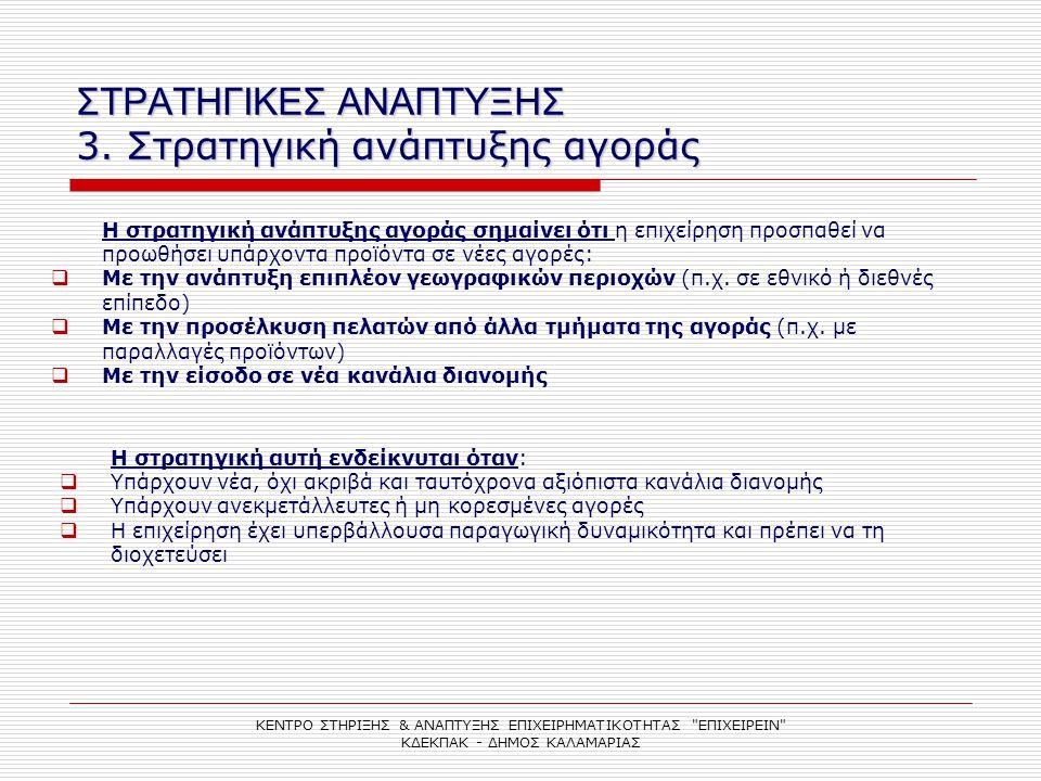 ΣΤΡΑΤΗΓΙΚΕΣ ΑΝΑΠΤΥΞΗΣ 3. Στρατηγική ανάπτυξης αγοράς ΚΕΝΤΡΟ ΣΤΗΡΙΞΗΣ & ΑΝΑΠΤΥΞΗΣ ΕΠΙΧΕΙΡΗΜΑΤΙΚΟΤΗΤΑΣ