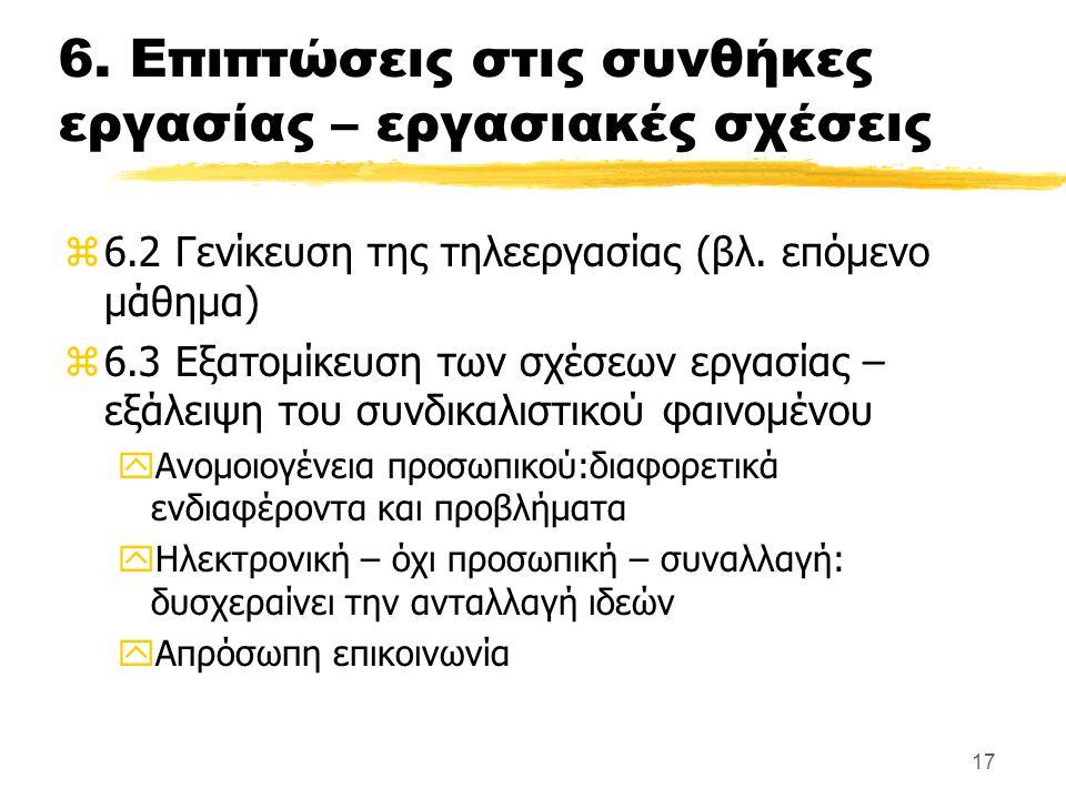 17 6. Επιπτώσεις στις συνθήκες εργασίας – εργασιακές σχέσεις z6.2 Γενίκευση της τηλεεργασίας (βλ. επόμενο μάθημα) z6.3 Εξατομίκευση των σχέσεων εργασί