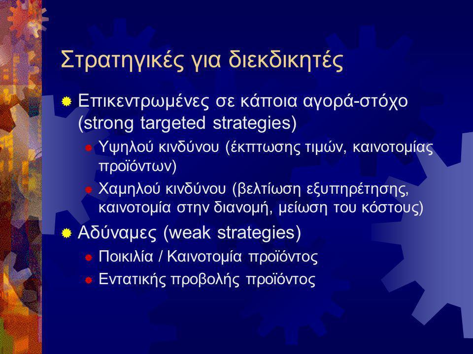 Στρατηγικές για διεκδικητές  Επικεντρωμένες σε κάποια αγορά-στόχο (strong targeted strategies)  Υψηλού κινδύνου (έκπτωσης τιμών, καινοτομίας προϊόντ