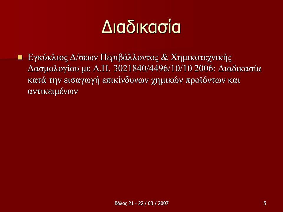 Βόλος 21 - 22 / 03 / 20075 Διαδικασία  Εγκύκλιος Δ/σεων Περιβάλλοντος & Χημικοτεχνικής Δασμολογίου με Α.Π. 3021840/4496/10/10 2006: Διαδικασία κατά τ