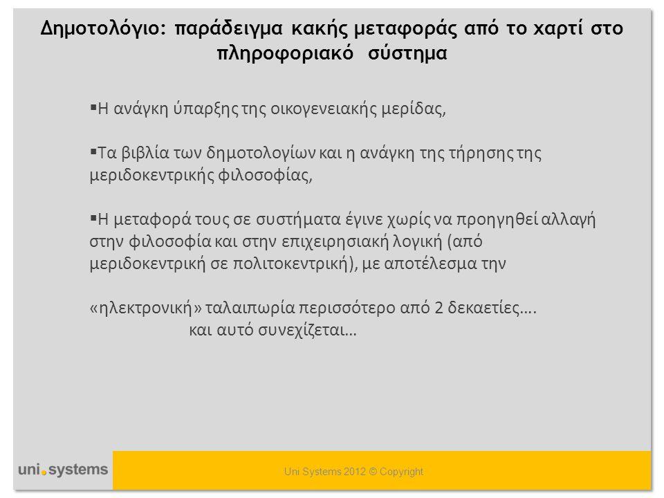 Δημοτολόγιο: παράδειγμα κακής μεταφοράς από το χαρτί στο πληροφοριακό σύστημα Uni Systems 2012 © Copyright  Η ανάγκη ύπαρξης της οικογενειακής μερίδα
