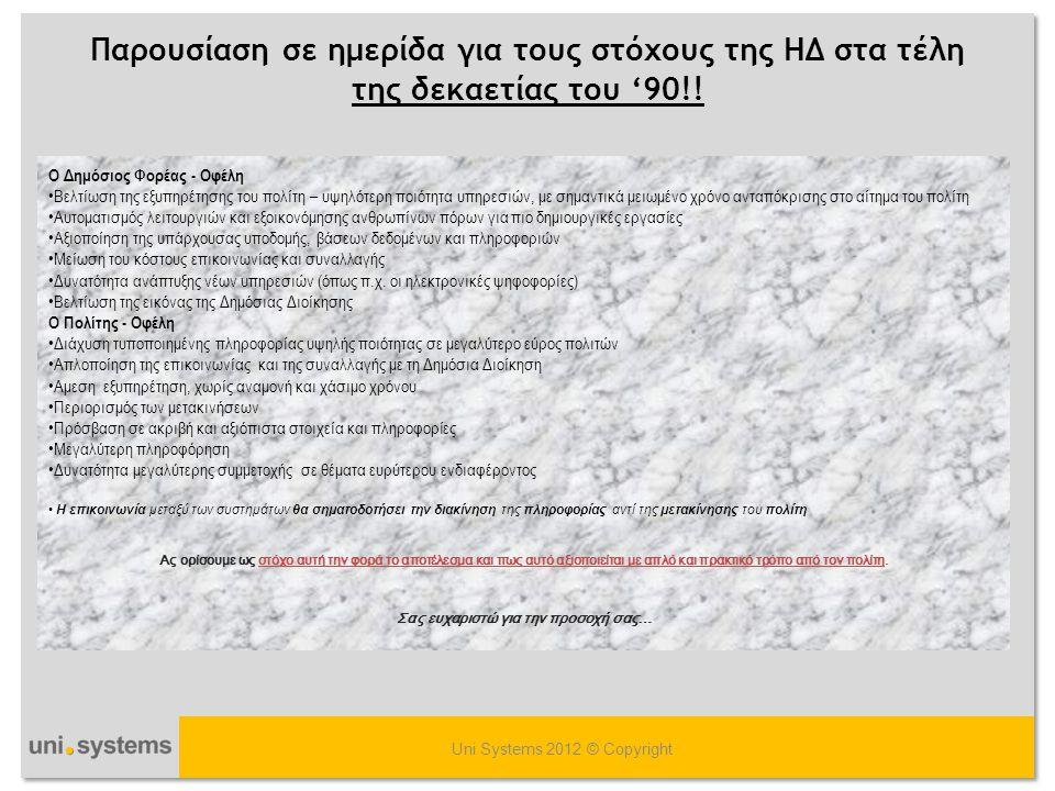 Ποιο είναι το αποτέλεσμα; Uni Systems 2012 © Copyright Μετά από 3 ΚΠΣ η ανακοίνωση του προγράμματος «ΑΡΙΑΔΝΗ» ως η «λύση» για την δια-λειτουργία μεταξύ 2 φορέων της δημόσιας διοίκησης (Ληξιαρχείου - Ασφαλιστικού φορέα) ΗΔ/ΤΠΕ