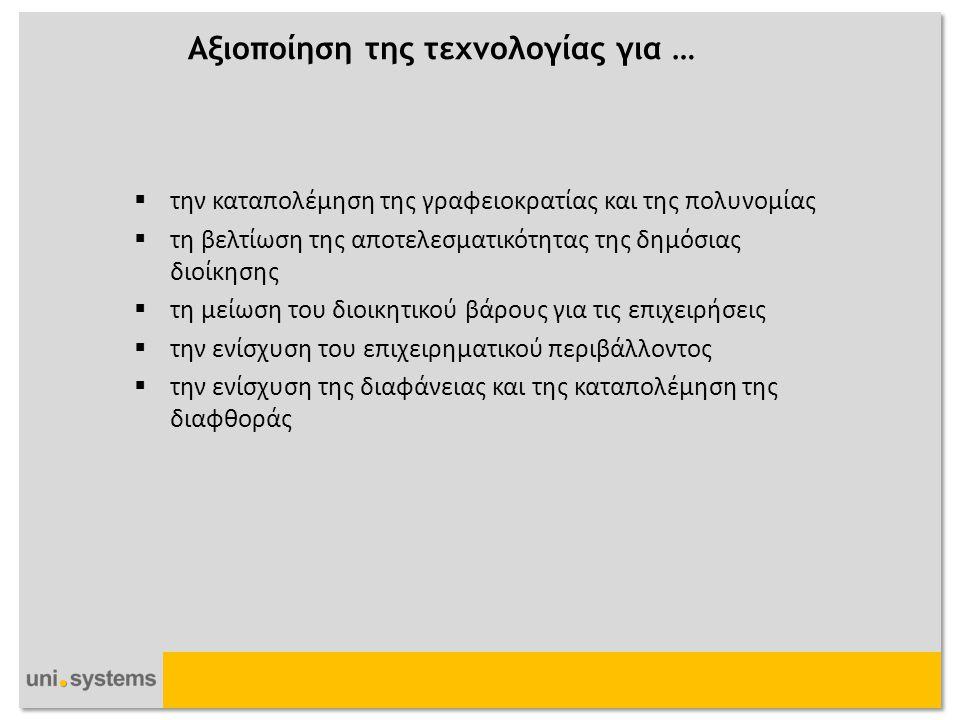 Σκοπός του Ελληνικού Πλαισίου Διαλειτουργικότητας Uni Systems 2012 © Copyright  H διασφάλιση της Δια-λειτουργικότητας  H Ανοικτή Φιλοσοφία  H Ευρωπαϊκή Διάσταση  Οι υπηρεσίες ΗΔ ομαδοποιούνται στις εξής κατηγορίες:  Κυβέρνηση-προς-Κυβέρνηση (Government to Government - G2G)  Κυβέρνηση-προς-Πολίτες (Government to Citizen - G2C)  Κυβέρνηση-προς-Επιχειρήσεις (Government to Business - G2B)