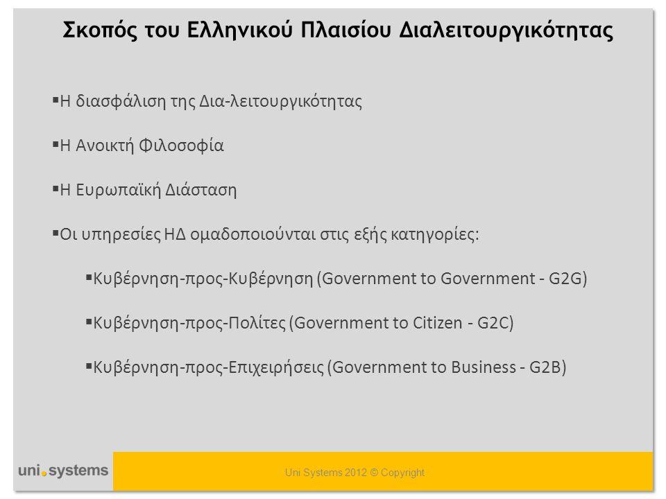 Επίπεδα Διαλειτουργικότητας Uni Systems 2012 © Copyright  Επιχειρησιακή Διαλειτουργικότητα  Θεσμική (Θεσμικό πλαίσιο)  Οργανωσιακή (Διαδικασίες)  Σημασιολογική (Δεδομένα)  Τεχνική Διαλειτουργικότητα (Συστήματα)