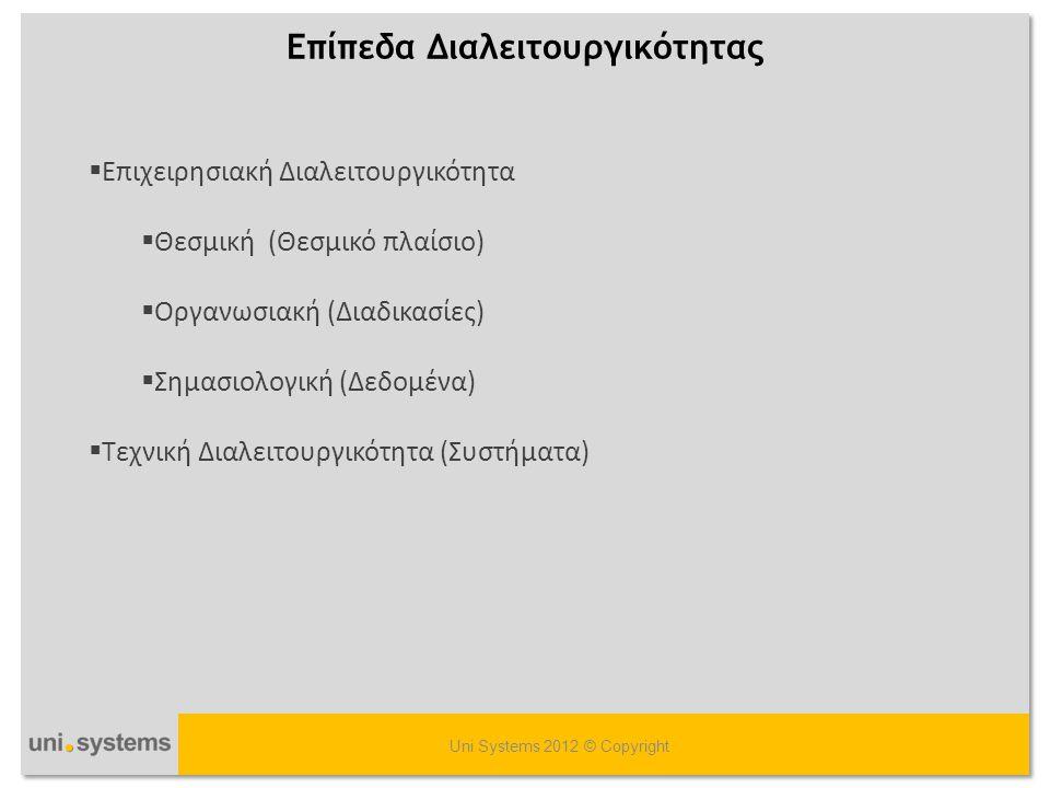 Επίπεδα Διαλειτουργικότητας Uni Systems 2012 © Copyright  Επιχειρησιακή Διαλειτουργικότητα  Θεσμική (Θεσμικό πλαίσιο)  Οργανωσιακή (Διαδικασίες) 
