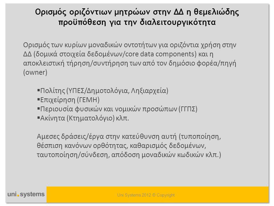 H παραδοσιακή χάρτινη γραφειοκρατία δεν πρέπει να μετατραπεί σε ηλεκτρονική γραφειοκρατία Uni Systems 2012 © Copyright Tυποποίηση ροών, διοικητική & διαχειριστική συνέχεια, εκπαίδευση ανθρώπινου δυναμικού Ριζικός Μετασχηματισμός των Διαδικασιών (BPR) (απλοποίηση, κατάργηση, ανασχεδιασμός διαδικασιών, νέες ροές εργασίας, life events →workflows ) Eνδεικτικό παράδειγμα τα δημοτολόγια/ληξιαρχεία της χώρας (μεριδοκεντρική αντι της πολιτοκεντρικής προσέγγισης)